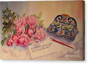 Canvas Print featuring the painting Roses Of Picardy by Beatrice Cloake