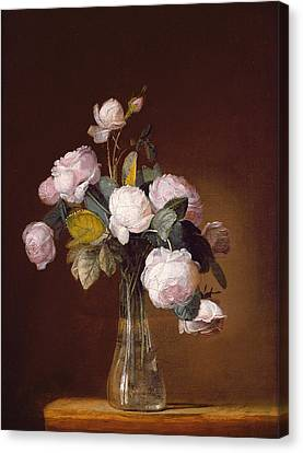 Roses On A Stone Ledge Canvas Print by Jean-Louis Prevost