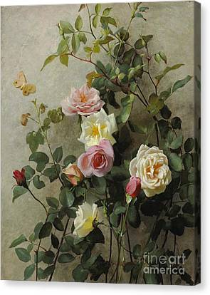 Roses On A Wall Canvas Print by George Cochran Lambdin
