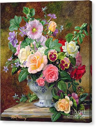 Still Lives Canvas Print - Roses Pansies And Other Flowers In A Vase by Albert Williams
