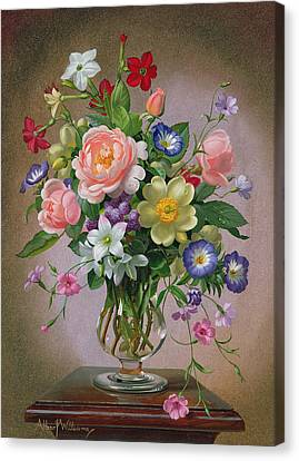 Roses Peonies And Freesias In A Glass Vase Canvas Print by Albert Williams