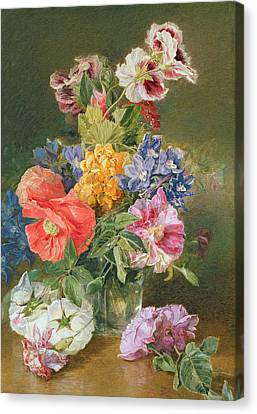 Roses Poppy And Pelargonia Canvas Print by James Holland