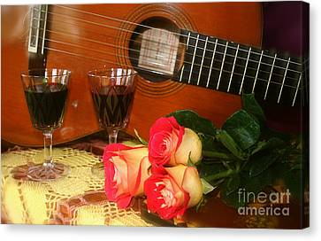 Guitar 'n Roses Canvas Print