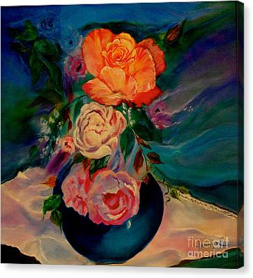 Canvas Print featuring the painting Roses Roses Roses by Jenny Lee