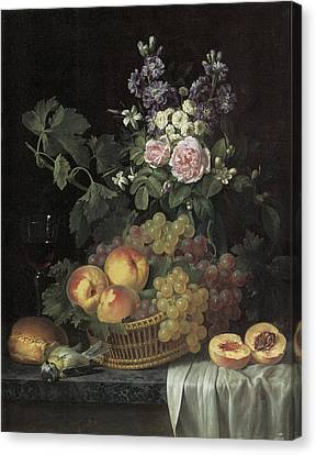 Roses Stocks Jasmine And Other Flowers In A Vase Canvas Print by Jean-pierre-xavier Bidauld
