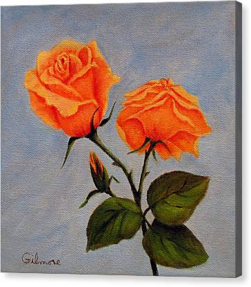 Canvas Print featuring the painting Roses With Bud by Roseann Gilmore
