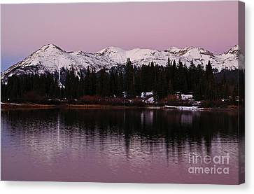 Rosey Lake Reflections Canvas Print