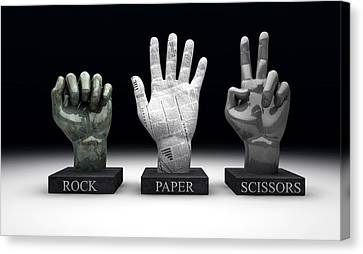 Roshambo - Rock Paper Scissors Canvas Print
