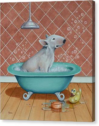 Canvas Print featuring the painting Rosie In The Bliss Bubbles by Cynthia House