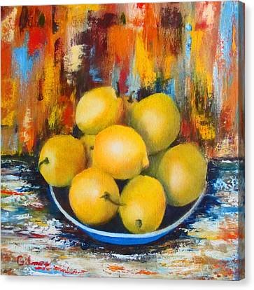 Canvas Print featuring the painting Rosie's Harvest by Roseann Gilmore
