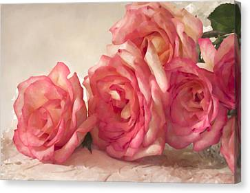 Canvas Print featuring the photograph Rosy Elegance Digital Watercolor by Sandra Foster