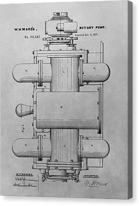 Transmission Canvas Print - Rotary Pump Patent Drawing by Dan Sproul