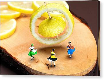 Canvas Print featuring the photograph Rotating Dancers And Lemon Gyroscope Food Physics by Paul Ge