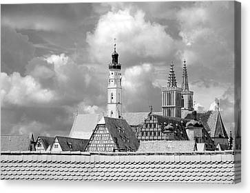 Rothenburg Towers In Black And White Canvas Print by Corinne Rhode