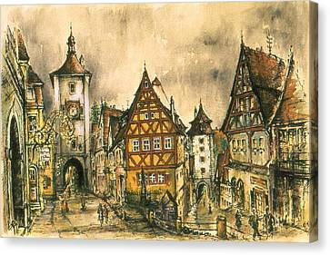 Rothenburg Bavaria Germany - Romantic Watercolor Canvas Print by Art America Gallery Peter Potter