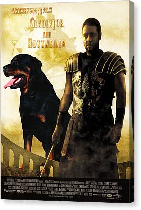Rottweiler Art Canvas Print - Gladiator Movie Poster Canvas Print by Sandra Sij