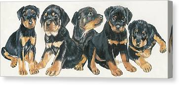 Working Dog Canvas Print - Rottweiler Puppies by Barbara Keith