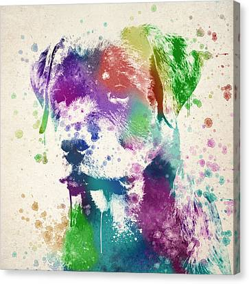Rottweiler Splash Canvas Print