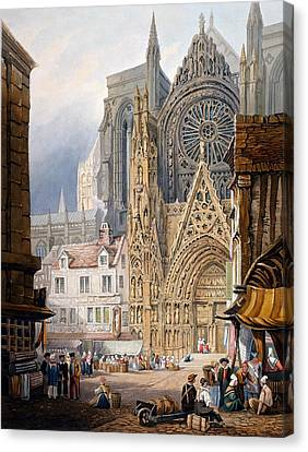 Entrance Canvas Print - Rouen Cathedral by Samuel Prout