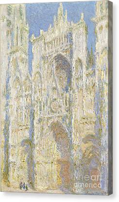 Rouen Cathedral West Facade Canvas Print by Claude Monet