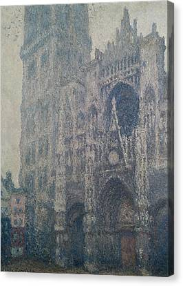 Rouen Cathedral West Portal Grey Weather Canvas Print