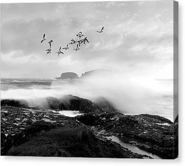 Canvas Print featuring the photograph Rough Seas by Roy  McPeak