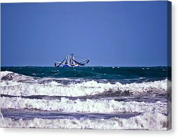 Canvas Print featuring the photograph Rough Seas Shrimping by DigiArt Diaries by Vicky B Fuller