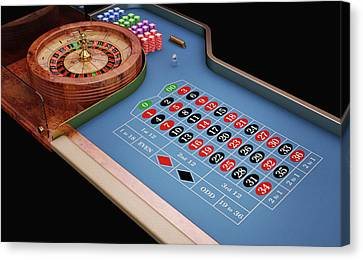 Roulette Table And Wheel Canvas Print
