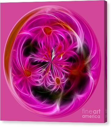 Fractal Orbs Canvas Print - Round Pink And Pretty By Kaye Menner by Kaye Menner