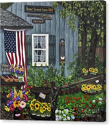 Round Swamp Farm By Alison Tave Canvas Print by Sheldon Kralstein