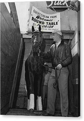 Round Table Vintage Horse Racing #1 Canvas Print by Retro Images Archive