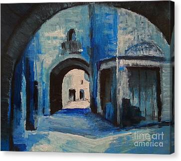 Canvas Print featuring the painting Round The Corner by Maja Sokolowska
