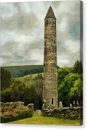 Round Tower At Glendalough Canvas Print by Jeff Kolker