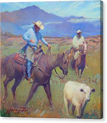 Round Up At Star Ranch Canvas Print by Ernest Principato