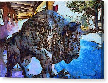 Round Up Market Buffalo Canvas Print by Barbara Snyder