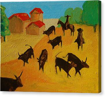 Round Up Of The Bulls 3 Painting By Bertram Poole Canvas Print