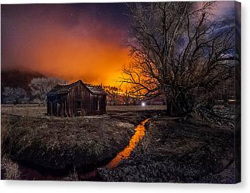 Shack Canvas Print - Round Fire by Cat Connor