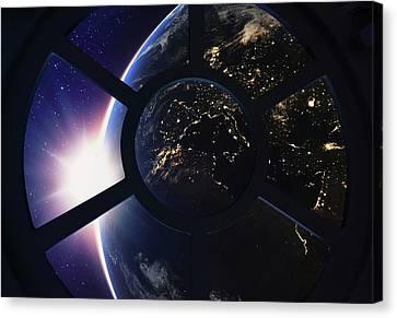 Round Window With View Of Earth Canvas Print by Andrzej Wojcicki