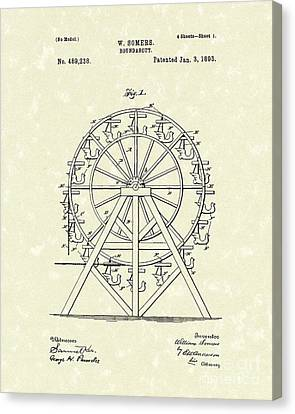 Roundabout 1893 Patent Art  Canvas Print by Prior Art Design