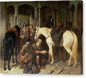 Roundheads At An Arundel Church, 1847-51 Canvas Print by John Frederick Herring Snr