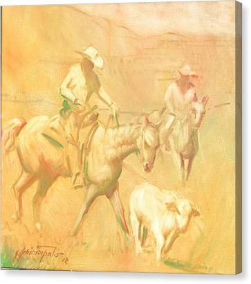 Rounding Up Stray At Star Ranch Canvas Print by Ernest Principato
