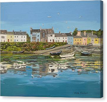 Roundstone Reflections Roundstone Connemara Canvas Print by Diana Shephard