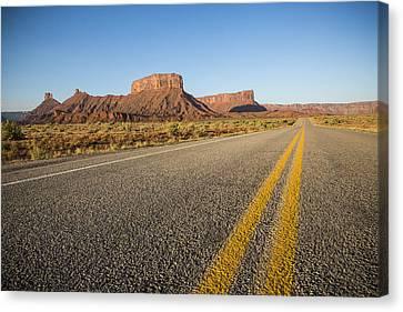 Route 128 Near Castle Valley Canvas Print by Adam Romanowicz