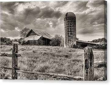 Route 213 Black And White Canvas Print