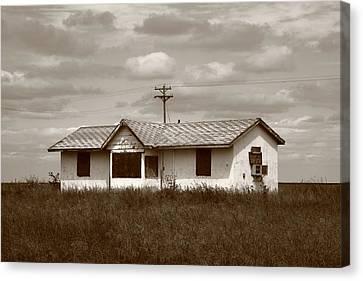 Sepia Vintage Farmhouse Canvas Print - Route 66 - Abandoned Farm House by Frank Romeo