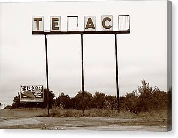 Route 66 - Abandoned Texaco Station Canvas Print by Frank Romeo