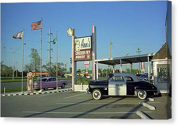 Route 66 - Anns Chicken Fry House Canvas Print by Frank Romeo