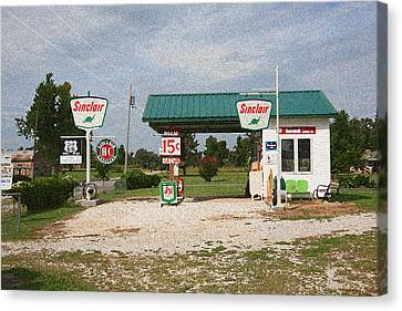 Route 66 Gas Station With Sponge Painting Effect Canvas Print by Frank Romeo