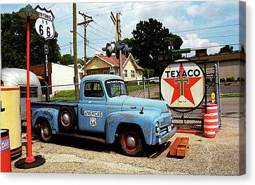 Route 66 - Gas Station With Watercolor Effect Canvas Print
