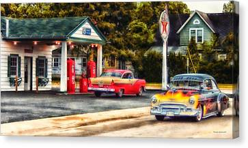 Route 66 Historic Texaco Gas Station Canvas Print by Thomas Woolworth